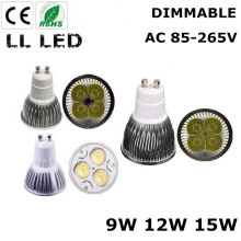 1pcs Super Bright 9W 12W 15W GU10 LED Bulbs Light 110V 220V Dimmable Led Spotlights E27 E14  GU5.3  base LED downlight