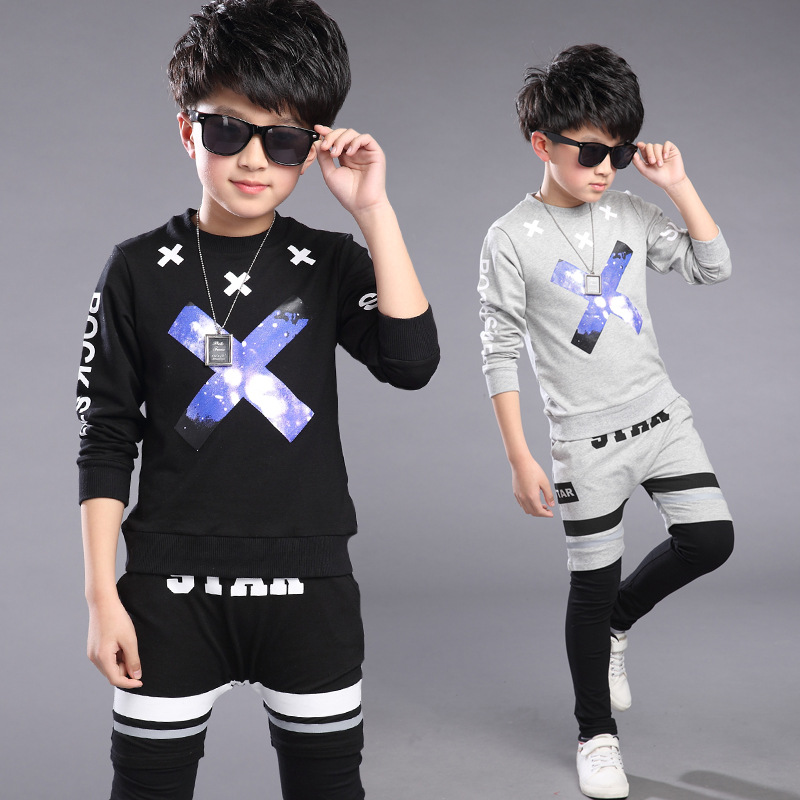 Spring Kids Clothes  Black Gray Long Sleeve Pullover Letter Sports Suit  Hot Sale New 2017 Casual Boys Clothing Set 2 Color<br><br>Aliexpress