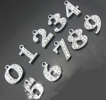 "Wholesale Rhinestones Hang Pendant Number 20PCS/lot "" 0--9 Can Choose Each Number "" Fit For DIY Phone Strips & Keychains"