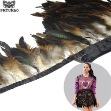 PMYUMAO Natural feather ribbon 6-8inch 2meter/lot Dyed high quality Rooster Feathers Fringe Trim for Costume decoration(China)