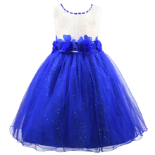 Rose Bow Flower Girls Dress Girls Party dress for Summer 3D Princess Girls clothing Free shipping