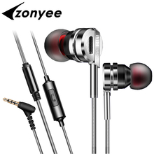 Zonyee Professional In-ear Earphone Metal Heavy Bass HIFI Stereo Sound Music Earbud Headset With Mic Subwoofer 3.5mm Headphones