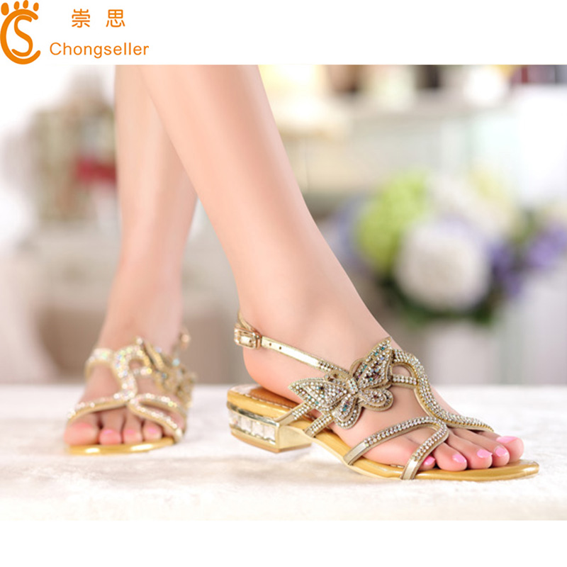 2015 Genuine Leather Size 34-41Women Summer Shoes Crystal Flats Sandals Brand Low Heel Sandals Ladies Party Shoes tenis feminino<br><br>Aliexpress