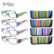 R040 Stripe Temples Spring Hinge Plastic  Reading Glasses(4 Pairs Mix) +0.5/0.75/1.0/1.25/1.5/1.75/2.0/2.25/2.5/2.75/3.0/3.5/4.0