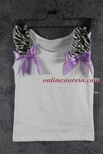 Zebra Lavender ribbon Baby girls pettitop kids girls cotton tees summer