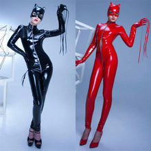 Buy PVC Latex Adult Women PU Leather Catsuit Sexy Catwoman Costume Cat Mask Latex Bodysuit Stretchable Open Crotch Size S-XXL