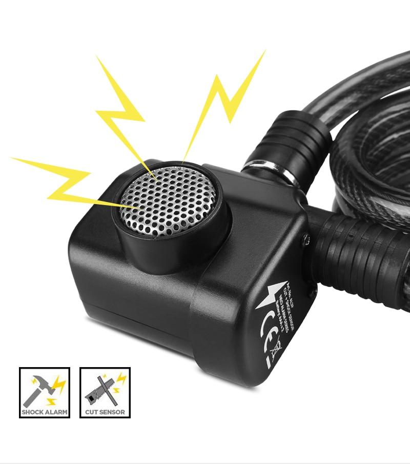 Nouveau HEAVY DUTY blindé câble en acier Serrure Clés De Sécurité Noir Moto Vélo