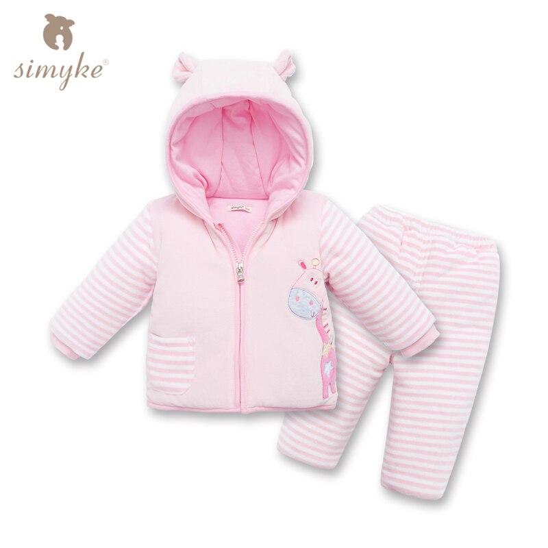 Simyke Toddler Velvet Winter Sets 2017New 2pcs Set for Baby Girl Toddler Jacket+Trousers Childrens Set Kids Clothing D5563<br>