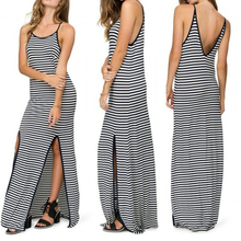 Fashion Black and White Striped Dress 2016 Summer New Arrival Women's Sexy Side Split Vest Long Dress Ladies Slip Dres