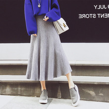 New Winter Style Long Skirts For Women High Waist Knit Skirt Women Falda Invierno Mujer Ladies Skirts Free Shipping 2017
