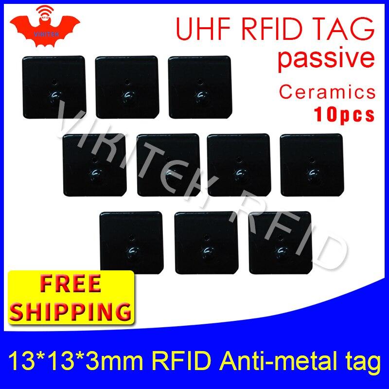 UHF RFID anti metal tag 915mhz 868mhz Alien Higgs3 EPC 10pcs free shipping 13*13*3mm small square Ceramics passive RFID tags<br>