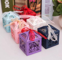 100pcs Lovebirds Wedding Decoration White Laser Cut Candy Box With Ribbon Party Favor Paper Gift Box Chocolate Boxes For Guests