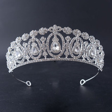 European Style 2017 New Crystal Bridal Crown Royal King Queen Tiara Gorgeous Rhinestone Diadem Wedding Hair Accessories Jewelry(China)