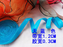 NEW sky blue 50M/lot width 1.2cm Silicone 0.3cm silicone elastic gripper for tailor Sewing DIY Bra Strap Elastic Webbing Band(China)