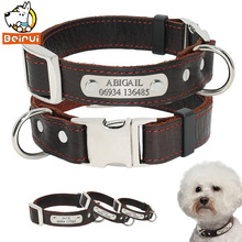 Personalized Customized Dog Collar Genuine Leather Adjustable Engraved ID Collars Anti Lost For Small Medium Large Pet Dogs