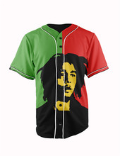 Real American Size bob marley 3D Sublimation Print Custom made Button up baseball jersey plus size
