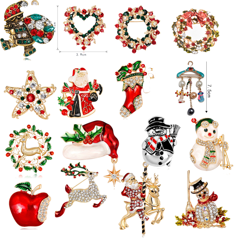 Christmas Brooches Full Rhinestones For Women Nice Red Shoe Boot Tree Animal Brooches Pins For The New Year Christmas Gifts