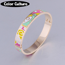 Opening Bracelet Bangle for Women Ethnic Colorful Enamel Jewelry 2016 indian wedding bangles(China)