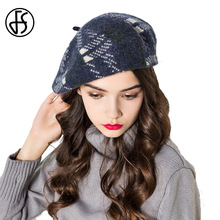 FS Vintage Women Blue Plaid Berets Hats Winter Warm Fashion Red Khaki French Wool Berets Felt Hat Painter Caps