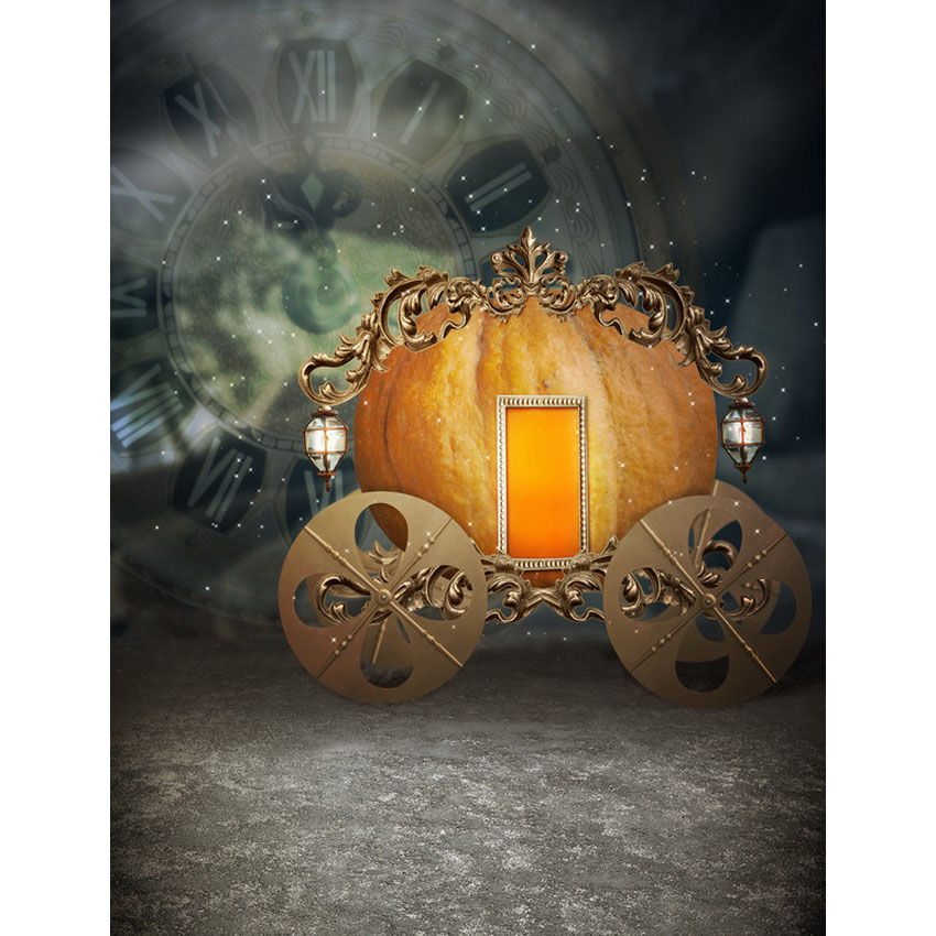 Customize washable wrinkle resistant print pumpkin carriage photo studio backgrounds for fairy photography backdrops S-2470-A<br>