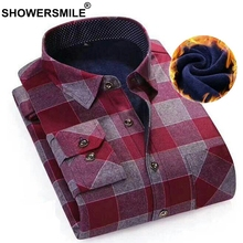 SHOWERSMILE Warm Checkered Shirts Men With Pockets Red Autumn Men Thick Casual Shirts Long Sleeve British Style Plaid Camisa(China)