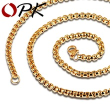 OPK Man Box Chain Necklaces Fashion Black / Gold Color Stainless Steel Vintage Men's Jewelry Gift Link Chain Cheap Price  GL744H