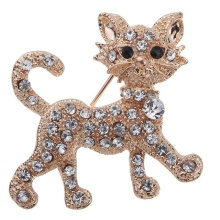 Luxurious Fashion Gold Full Shining Rhinestone Vintage Tiger Brooch Wedding Gift Fine and Fashion Jewelry Brooches for Women