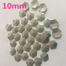 500pc 10mm Silver Hexagonal/Football Shape Hot Fix Studs Flat Back Iron on Rhinestuds Heat Transfer DIY For Garments Accessories(China)