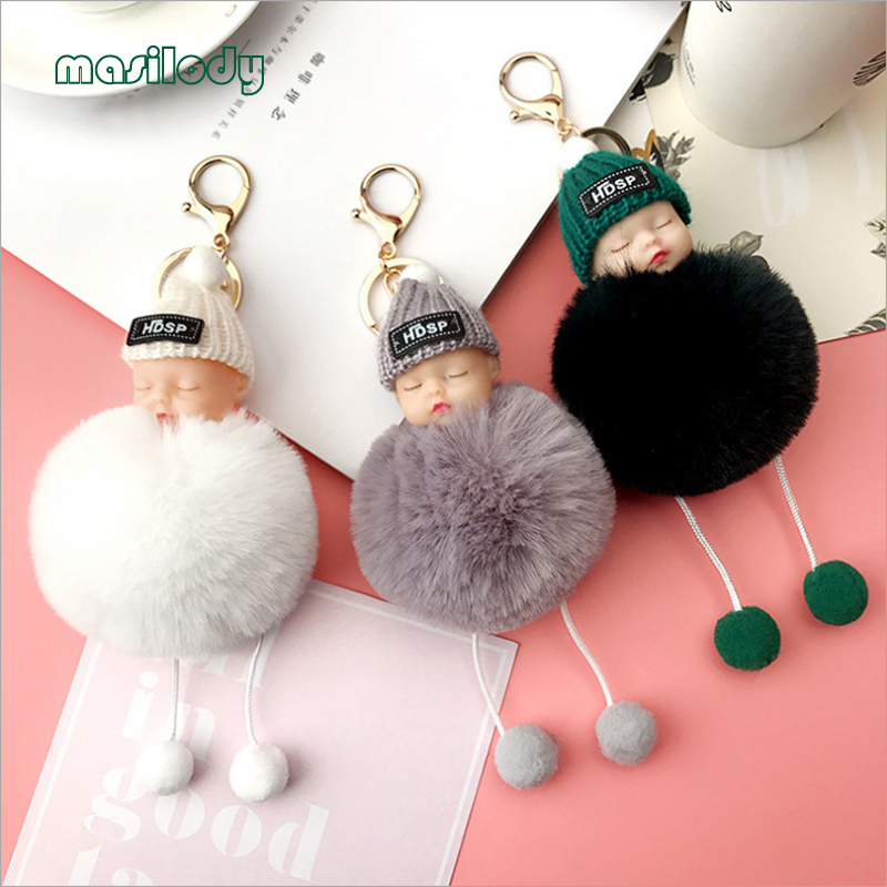 50pcs/lot 13 Colors Sleeping Baby Doll Keychain Pompoms Hat Foot Baby Fur Ball Key Chain Car Keyring Women Key Holder Jewelry