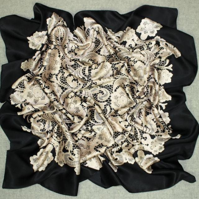 New girl women lace floral satin Silk Scarf 90 square Scarves Neckerchiefs 12MM thick Unisex #4062