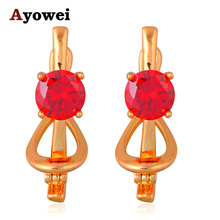 Promotion Lowest Price  Gold tone Red Crystal Earrings High quality suppliers Clip Earrings for Party JE1059A