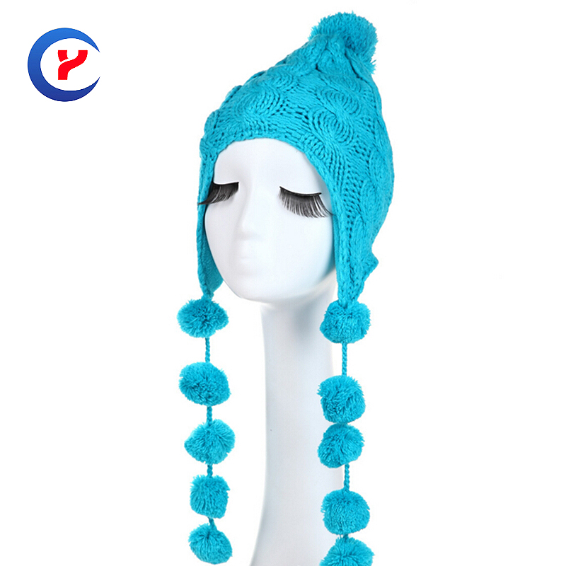 2017 NEW Fashion Winter Outdoor Hats For Women Knitted Hat Ear Protection with More Pompons CasualCaps Earflap Hat #161014_x76Одежда и ак�е��уары<br><br><br>Aliexpress