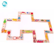 Baby Toys Child Animal Domino 28Pcs Building Blocks Wooden Toys Beech Wood Infant Domino Educational Toys Child Birthday Gift(China)