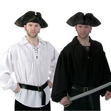 Halloween Patry Costume Performance Wear Pirate Shirt  Pirates Of The Caribbean Series Cosplay Costumes Shirt + Belt