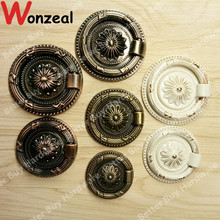 Dia. 38mm/47mm/56mm Ring Style single hole antique brass color knob zinc alloy furniture cabinet antique handle drawer pulls(China)