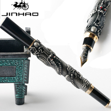 Luxury JinHao Dragon Fountain Pen with 18KGP Medium Nib 5 Color for China School Office Stationery Writing Oriental(China)