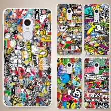 Sticker bomb Hard White Cell Phone Case Cover for Xiaomi Mi Redmi Note 4 Pro 4A 4C 4X 5X 5 6(China)