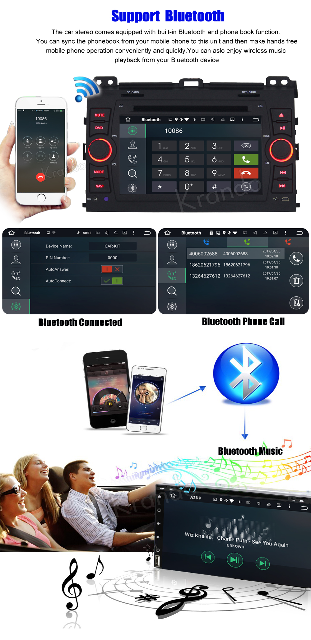 Krando android car stereo navigation system for toyota PRADO 2002-2009 car dvd player multimedia system (3)