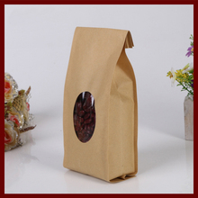 10*28+6 30pcs brown self Opening kraft paper bags with window for gifts sweets and candy food tea jewelry retail package paper