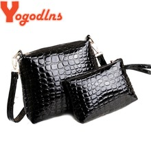 Yogodlns 2PCS Bag Women Messenger Shoulder Bag Crocodile PU Leather Casual Crossbody Quilted Bags Set Clutch Composite Handbags
