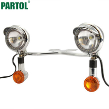 Partol Motorcycle LED Headlight Passing Fog Spot Lamp Bullet Turn Signals Light Bar White Amber Lighting For Honda Suzuki Yamaha