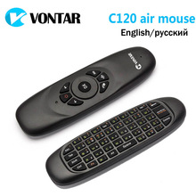 Genuine VONTAR Russian English VONTAR C120 air Mouse Rechargeable mini Wireless Keyboard for Android TV Box Computer(China)