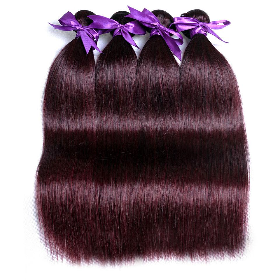 Pinshair Burgundy Straight Hair Bundles Deals Human Hair Weave 4 Bundles Non Remy Pre-colored Brazilian Hair Extensions No Smell (25)