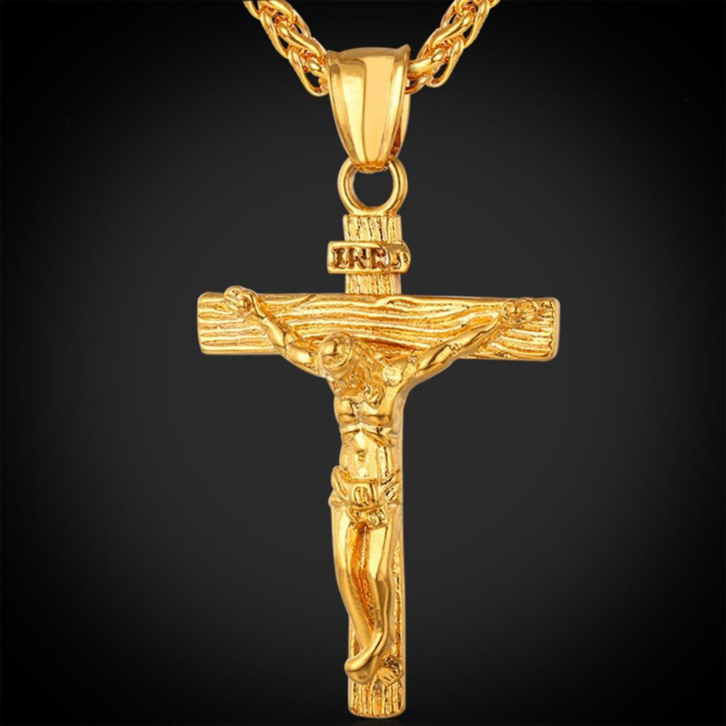 FANALA Alloy Necklaces Jesus Cross Pendant Necklace men jewelry 316 stainless steel floating locket charms Christian Crucifix(China)