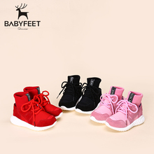 2017 Babyfeet Winter New girls flat kids fashion ankle booties children sneakers casual Shoes high top lace-up boys school shoe