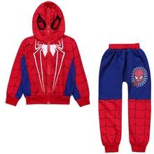 Baby Boys Spring Autumn Spiderman Sport Clothes Set Children Clothing Set Kids Boy Hooodied Jacket Coat + Pants Suits Tracksuit