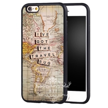 lve got the travel bug Printed Protective Soft TPU Skin Mobile cell phone bags case cover for iphone 4S 5S 5C SE 6S 7 PLUS