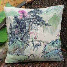 Chinese Style Landscape Painting Pattern Printed Soft Short Plush Throw Pillow Home Living Room Furniture Decorative Cushion