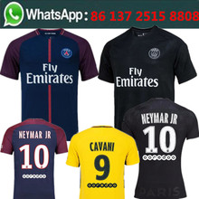 Free shipping 295 Neymar Cavani PSG 3RD black camisetas de futbol Soccer jersey 2017 2018 High quality football jersey(China)