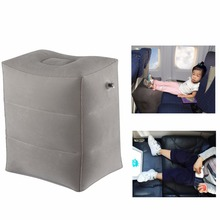 Kids Sleeping Pillow On Airplane/Bus/Car Leg Resting Inflatable Travel Foot rest Pillow PVC Flocking Travel Footrest Pillow(China)